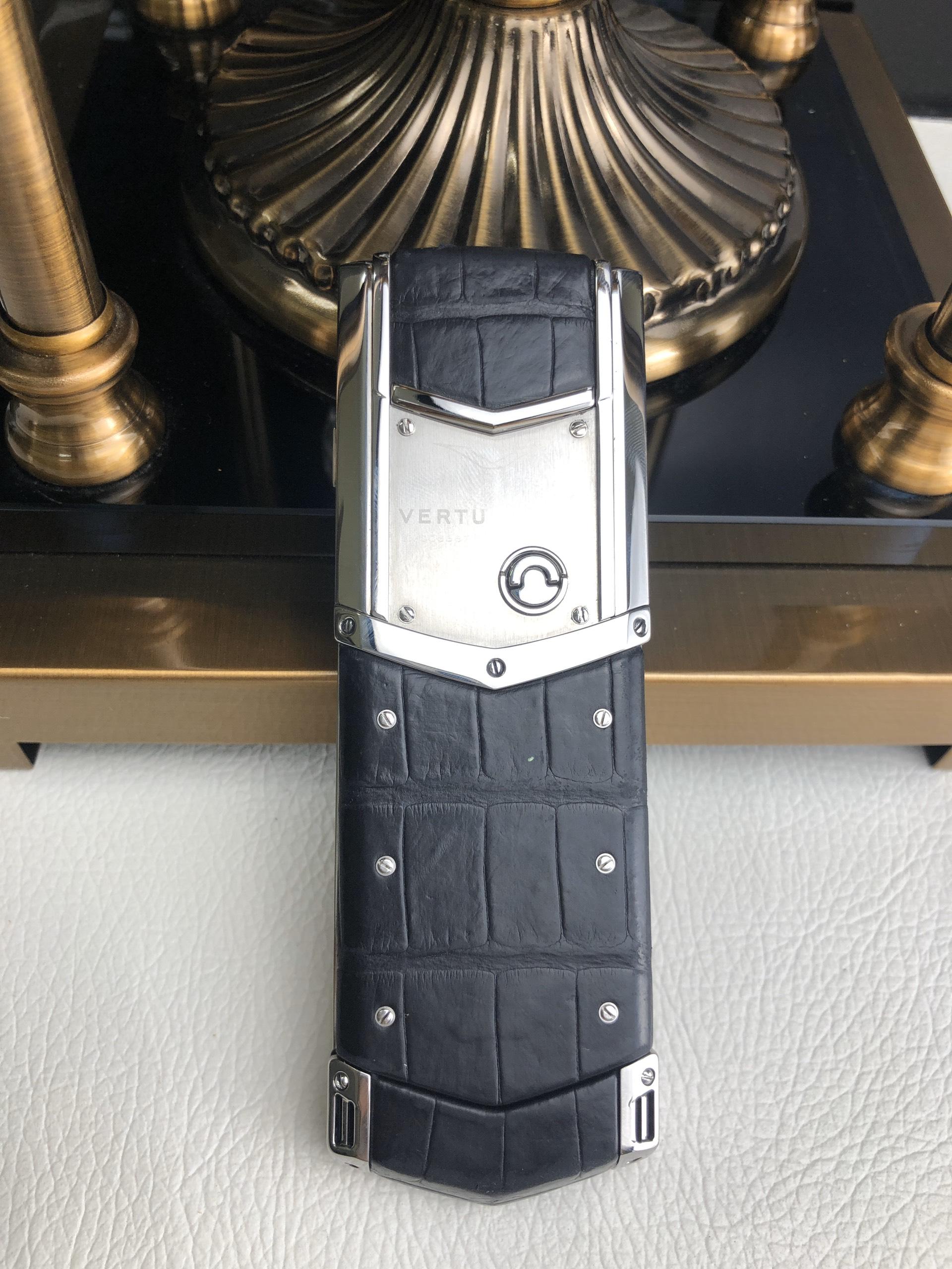 Điện thoại vertu signature s thép bóng navy aligator - 03