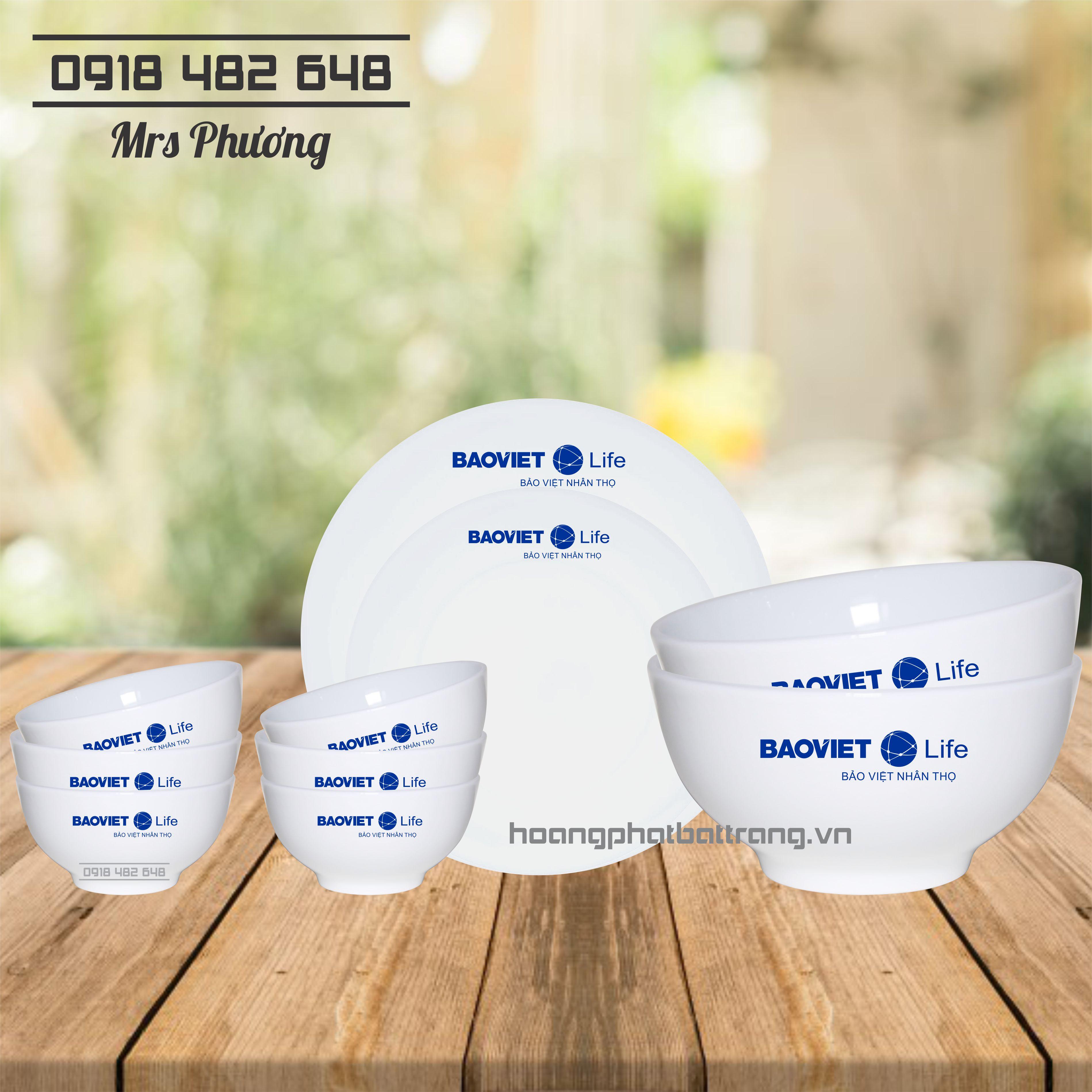 Bộ đồ ăn in logo bảo hiểm Bảo Việt 10 món