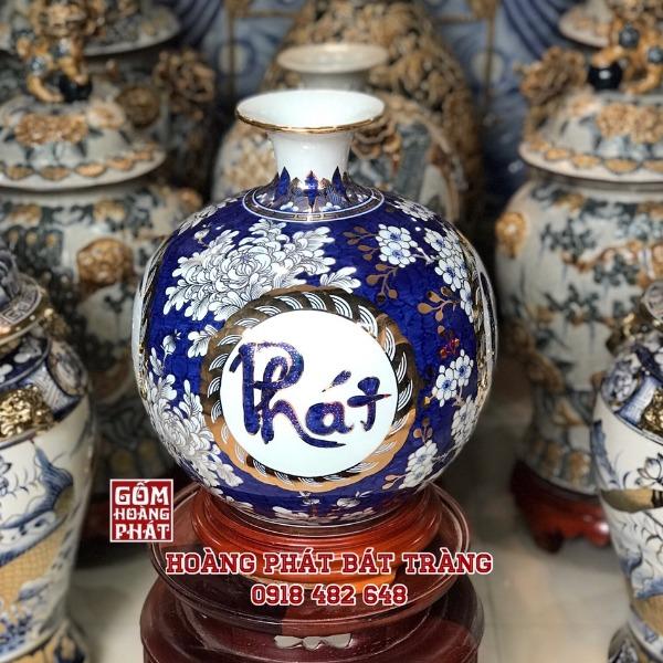 Bình hút tài lộc Phát Tài Phát Lộc vẽ vàng kim cao cấp H35cm