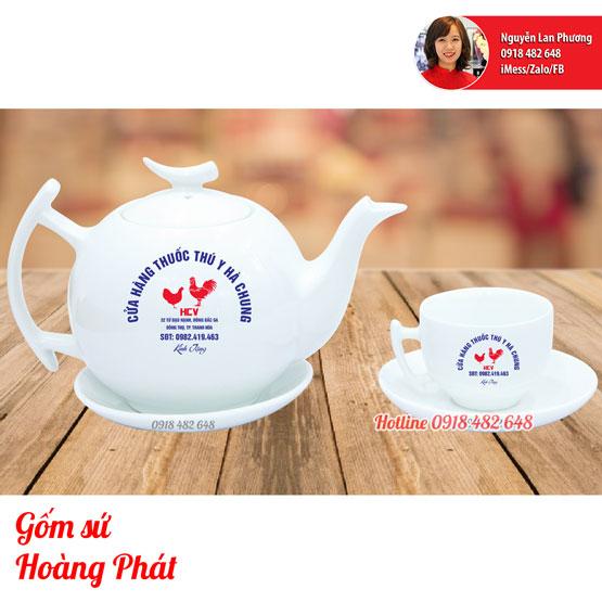 Ấm chén in logo thuốc Thú Y Hà Chung dáng bưởi cành