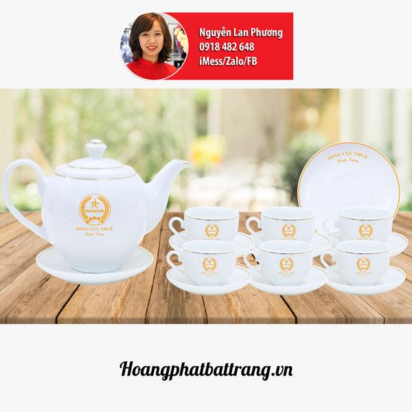 ấm chén bát tràng in logo cho tổng cục thuế Việt Nam