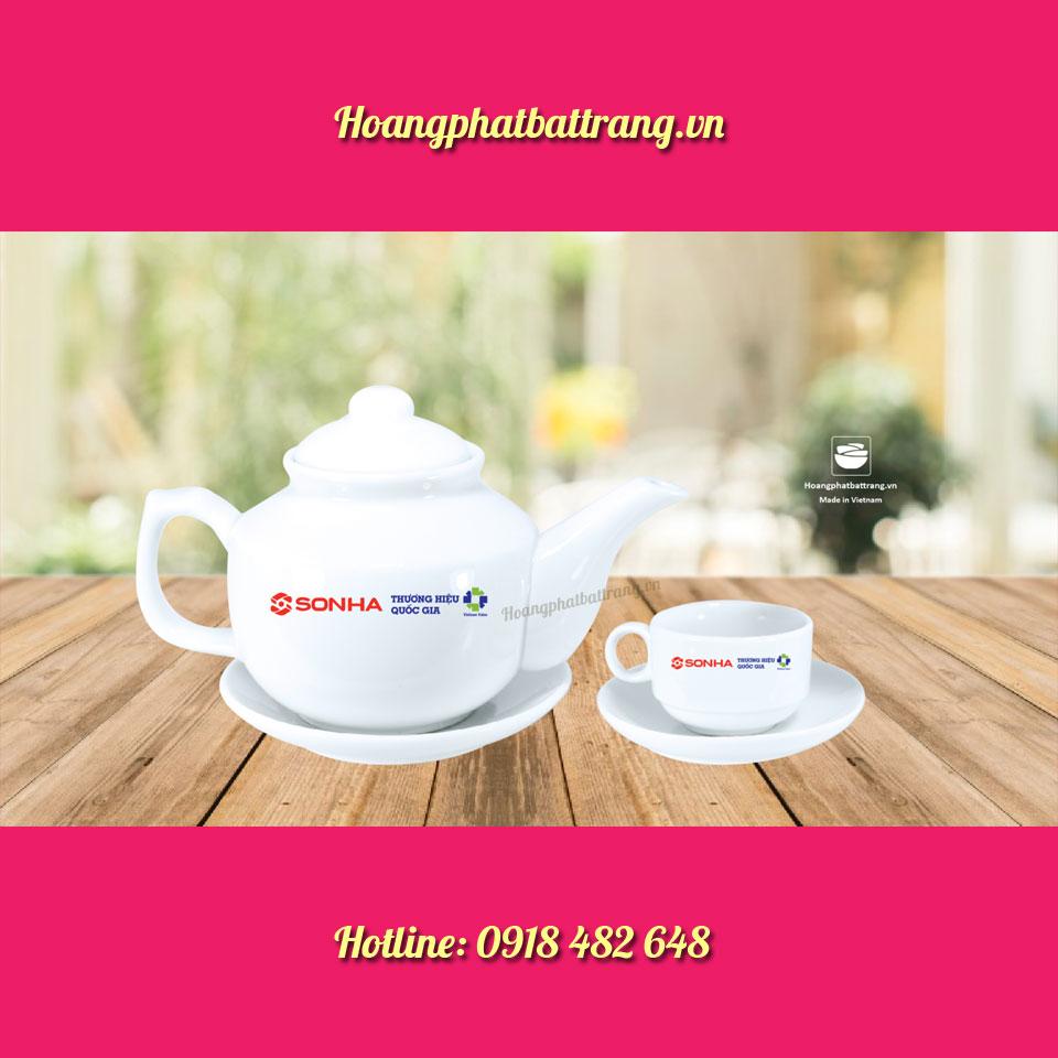 Ấm chén in logo công ty ống Thép Sơn Hà