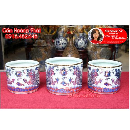 Bộ 3 bát hương vẽ vàng 24k cao cấp Bát Tràng SP5101