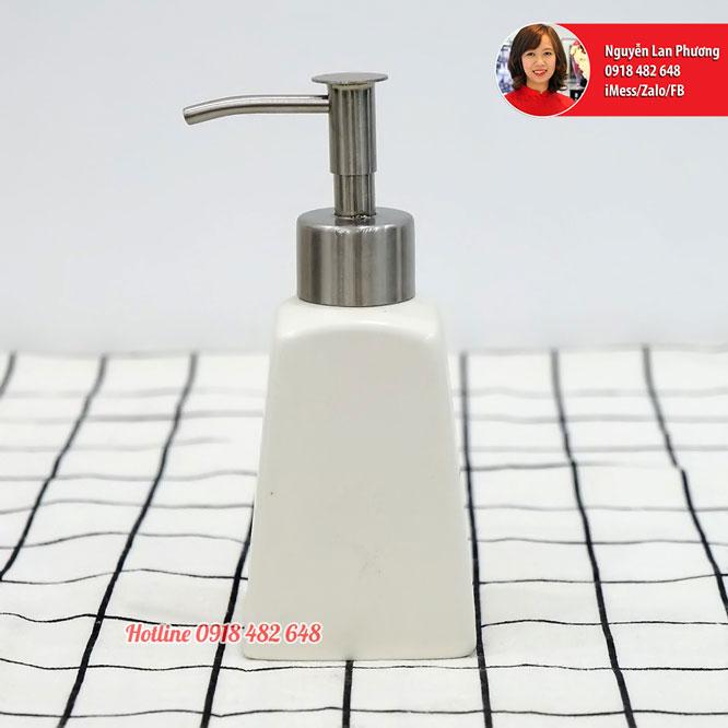 Bình đựng nước rửa tay, dầu gội, sữa dưỡng thể men trắng vòi inox