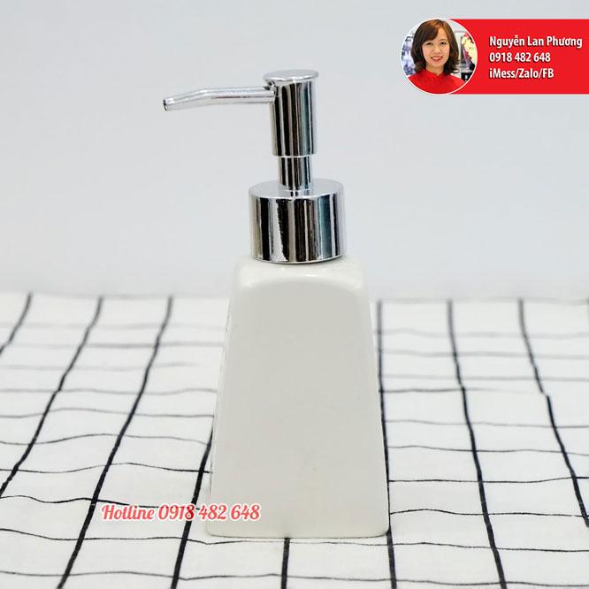 Bình đựng nước rửa tay, dầu gội, sữa dưỡng thể men trắng vòi nhựa