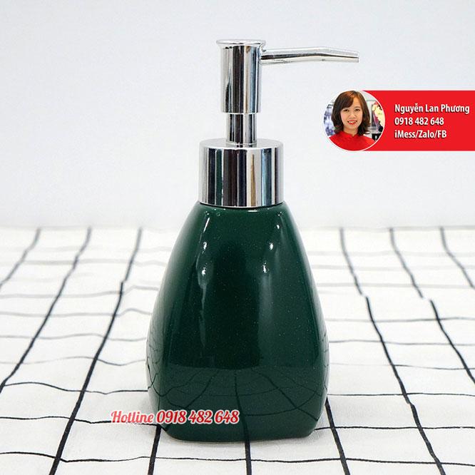 Bình đựng nước rửa tay, dầu gội, sữa dưỡng thể men xanh ngọc bích