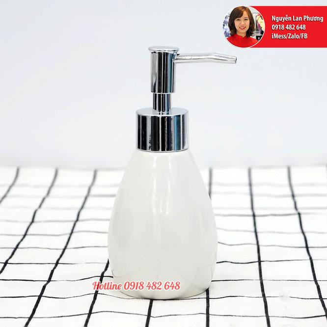 Chai đựng sữa dưỡng thể, dầu gội, nước rửa tay men trắng vòi nhựa