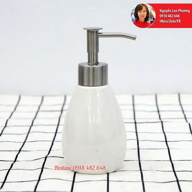 Chai đựng sữa dưỡng thể, dầu gội, nước rửa tay men trắng vòi inox