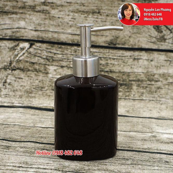 Bình đựng dầu gội, xà phòng, sữa tắm, sữa dưỡng thể men đen vòi inox