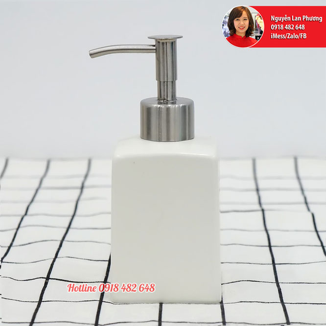Bình đựng xà phòng nhà tắm men trắng mờ vòi inox