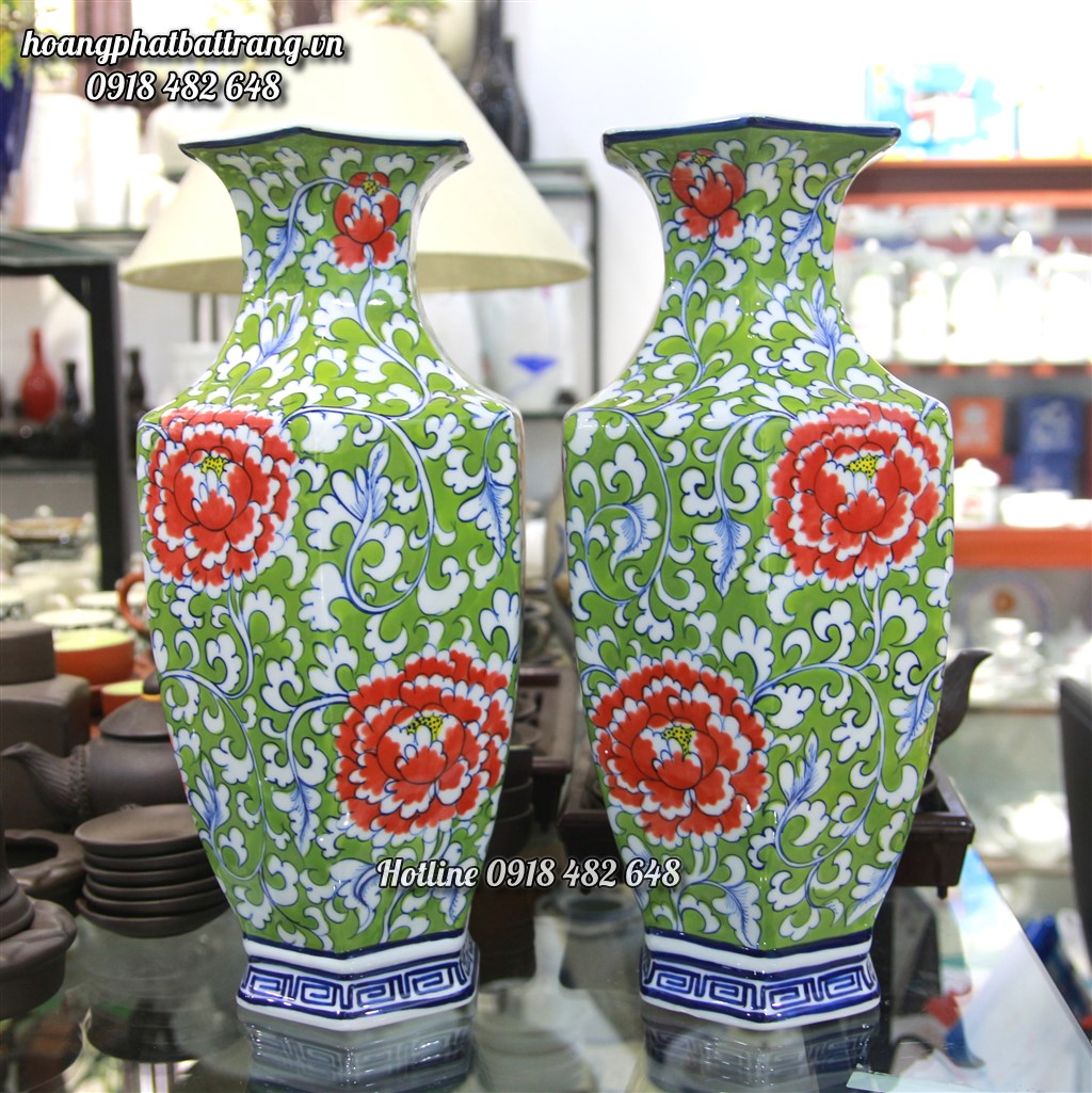 Bình lục lăng hoa Phù Dung - hàng cao cấp Cao 50cm SP708