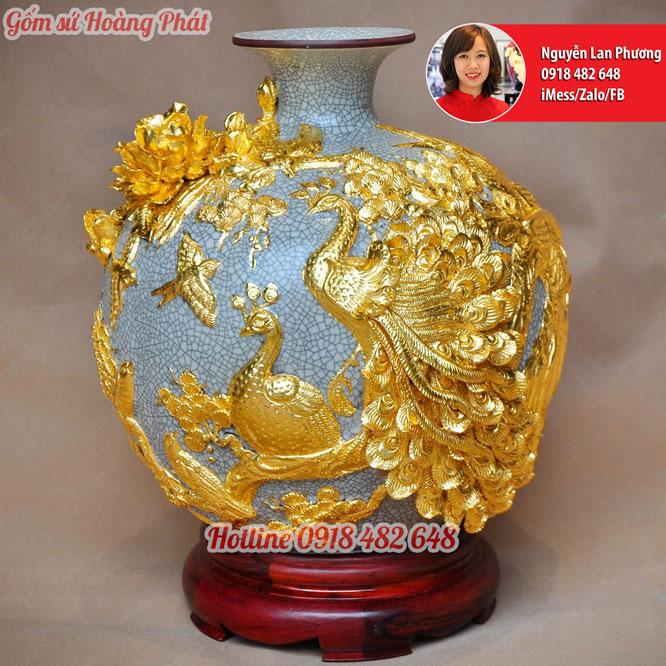 Gốm sứ dát vàng men rạn Công Đào Phú Quý