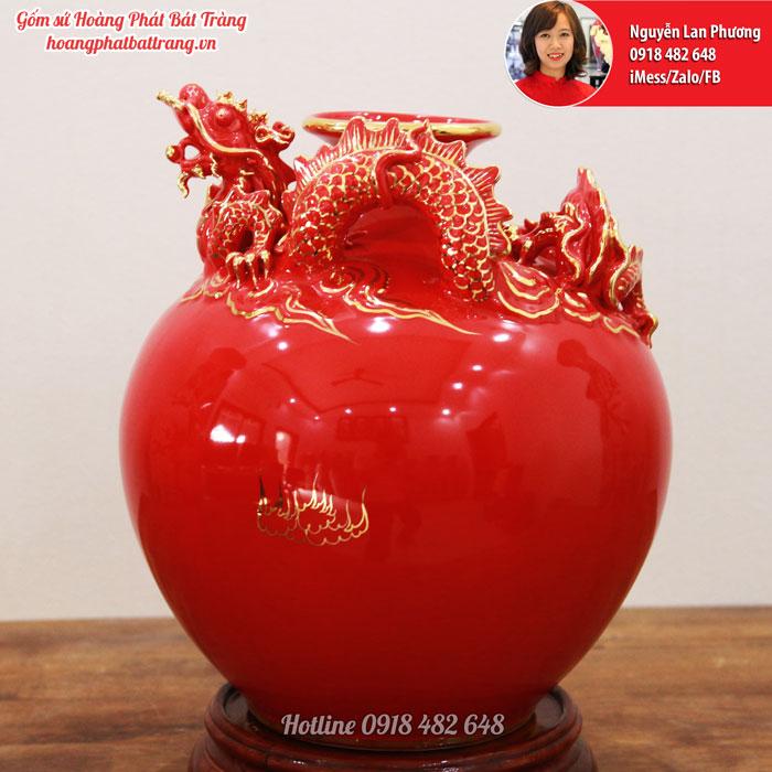 Bình hút Tài lộc Rồng đỏ cao 35 cm SP615