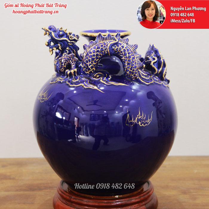 Bình hút lộc Rồng xanh saphia cao 35 cm SP616