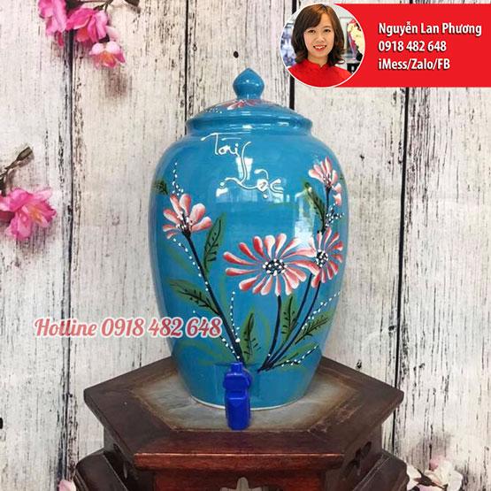 Bình nước gốm sứ Bát Tràng men xanh hoa Cúc Tài Lộc