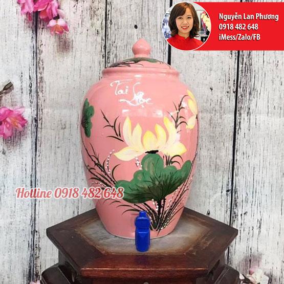 Bình nước gốm sứ Bát Tràng men hồng hoa Sen Tài Lộc