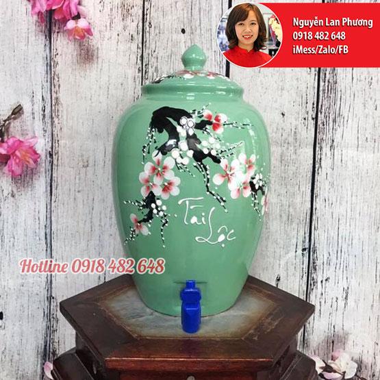 Bình nước gốm sứ Bát Tràng men xanh hoa đào Tài Lộc
