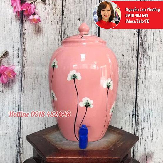 Bình nước gốm sứ Bát Tràng men hồng hoa xuyến chi