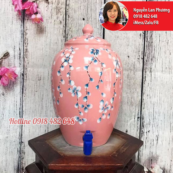 Bình nước gốm sứ Bát Tràng men hồng hoa rơi