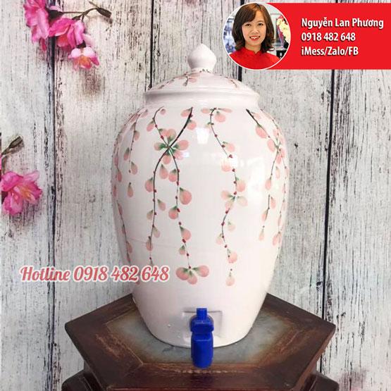 Bình nước gốm sứ Bát Tràng men trắng hoa rơi