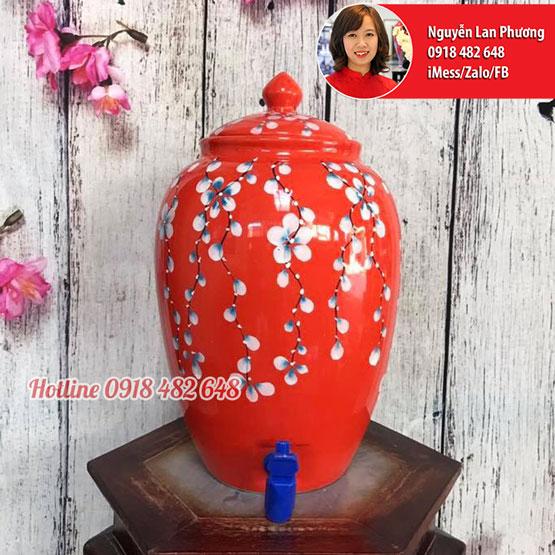 Bình nước gốm sứ Bát Tràng men đỏ hoa rơi