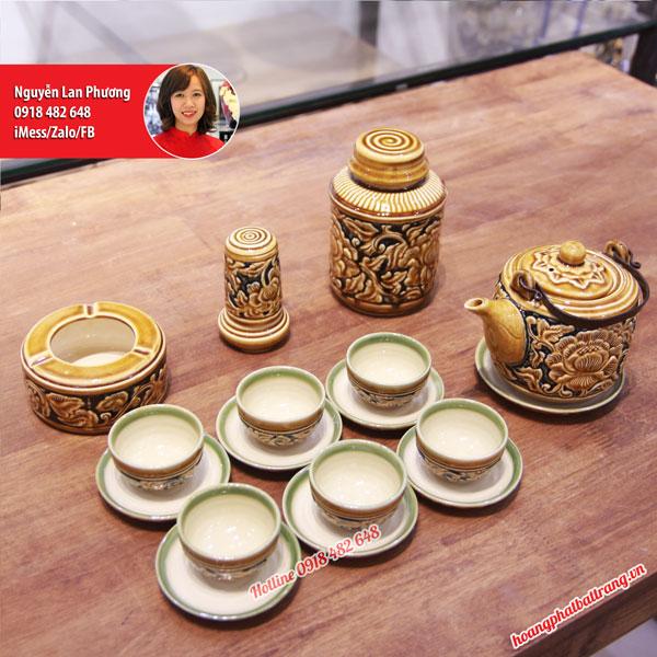 Bộ ấm chén vại khắc nổi 3D hoa Phù Dung men Hoàng Thổ full phụ kiện