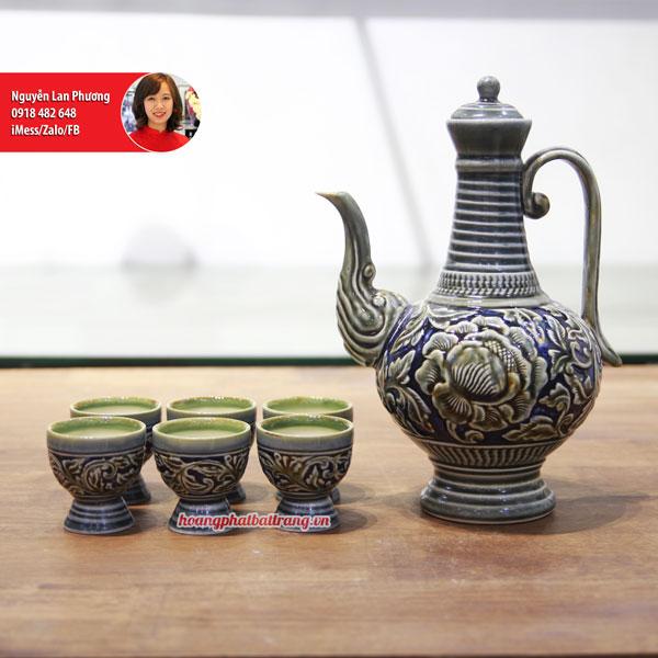Bộ ly rượu men Hoàng Thổ khắc 3D Phù Dung