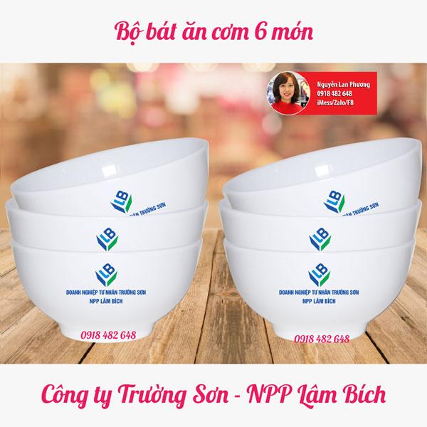 bộ bát ăn cơm in logo npp lâm bích