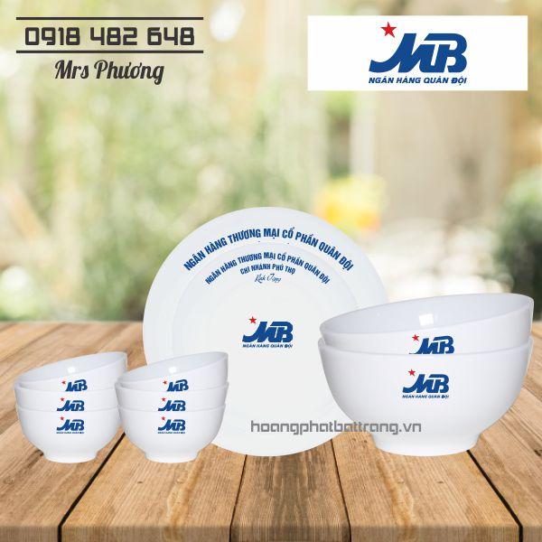 Bộ bát đĩa in logo MB Bank 10 món, bồ đồ ăn cao cấp Bát Tràng