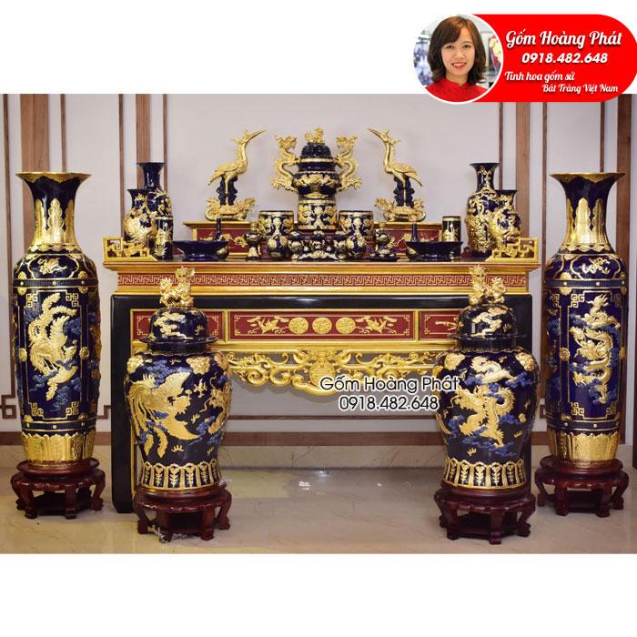 Bộ đồ thờ đắp nổi dát vàng cao cấp gốm Bát Tràng SP5030