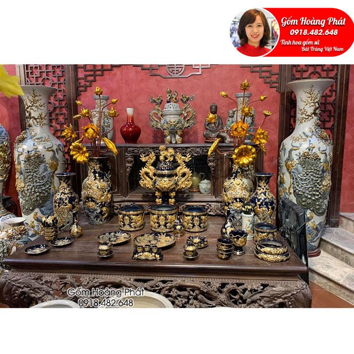 Bộ đồ thờ men đen gốm đắp nổi dát vàng gốm Bát Tràng SP5029