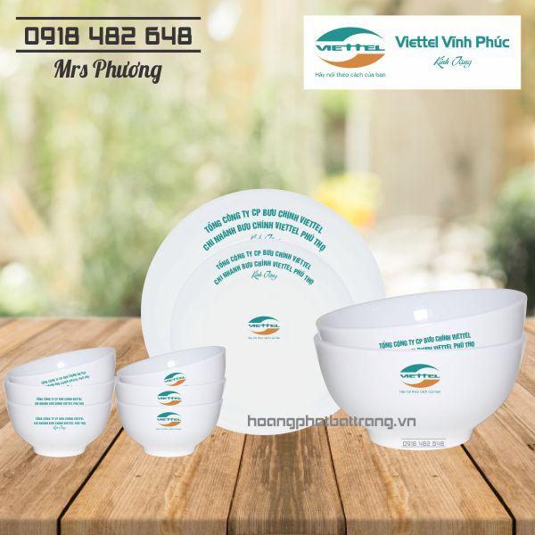 Bộ đồ ăn in ấn logo Viettel, bộ đồ ăn Bát Tràng