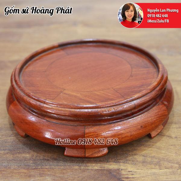 Chân đế bát hương gỗ hươngp18cm