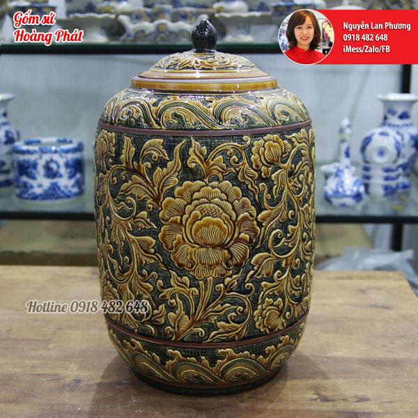 Chum đựng rượu cao cấp men Hoàng Thổ khắc nổi Phù Dung