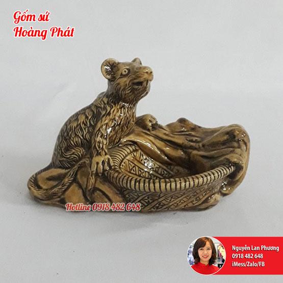 Gạt tàn gốm linh vật Chuột - tuổi Tý