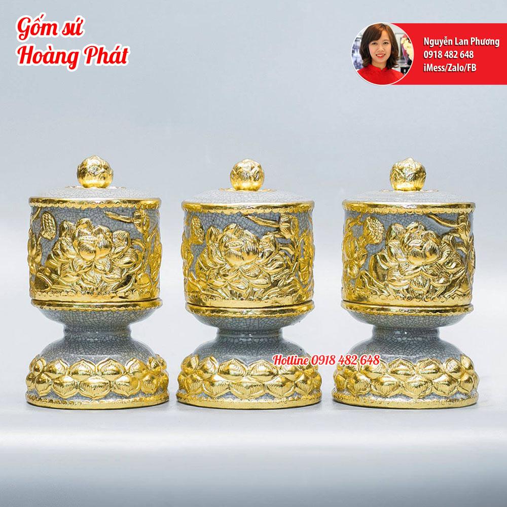 Đài nước thờ đắp hoa sen dát vàng 24k
