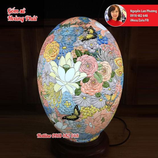 Đèn sứ thấu quang dáng trứng vẽ ngàn hoa