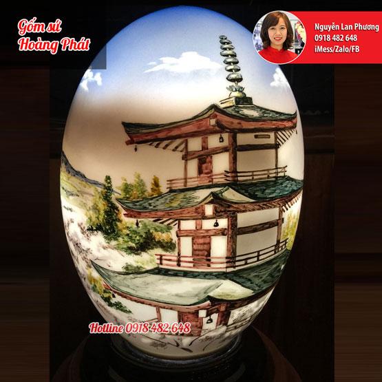 Đèn sứ thấu quang dáng trứng vẽ núi Phú Sĩ