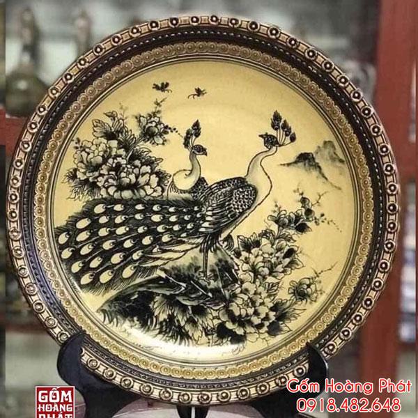 Đĩa trưng bày Công Phù Dung men Hoàng Thổ