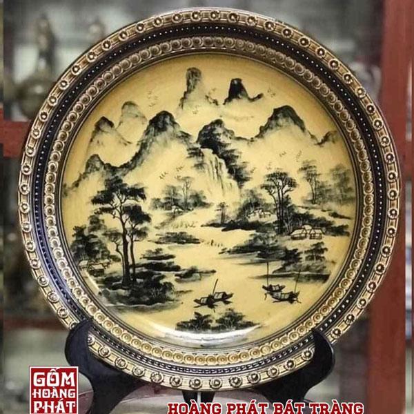 Đĩa trưng bày Sơn Thủy men Hoàng Thổ