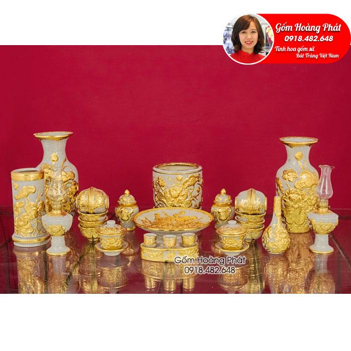 Bộ đồ thờ men rạn đắp nổi hoa sen dát vàng cho ban thờ Phật ĐTDV04