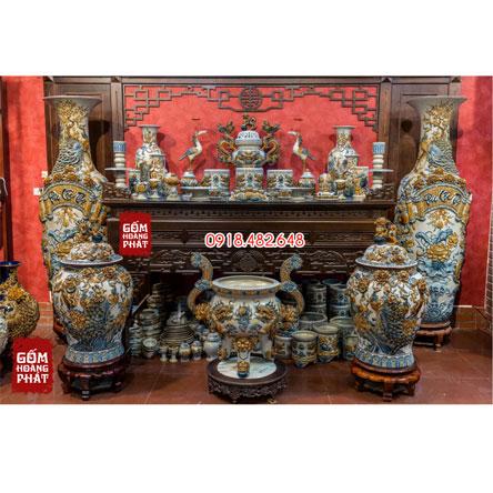 Bộ đồ thờ men rạn đắp nổi kỹ ấn vẩy cho ban thờ gia tiên gốm sứ Bát Tràng SP5091