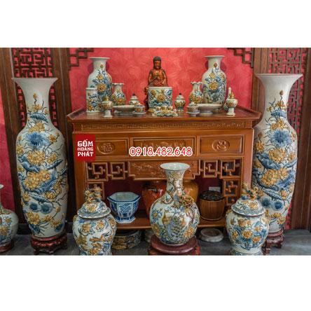 Bộ đồ thờ men rạn đắp nổi hoa sen cho ban thờ Phật gốm sứ Bát Tràng SP5092