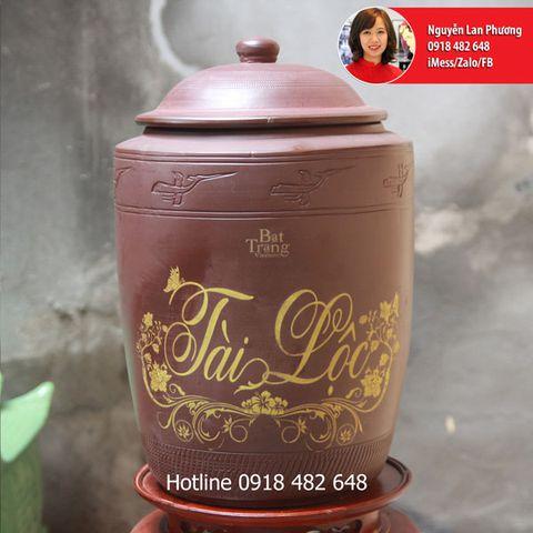 Hũ gạo tài lộc Phong Thủy gốm Bát Tràng 10kg Tài Lộc SP4121