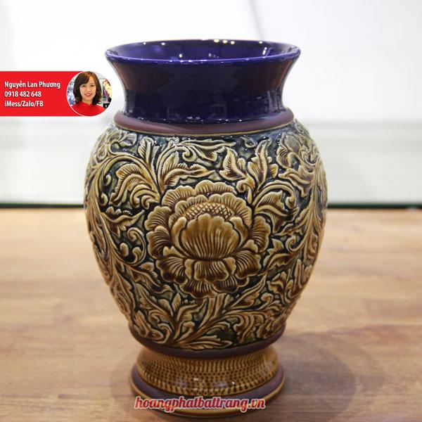 Lọ hoa Bát Tràng men Hoàng Thổ khắc nổi Phù Dung 30cm