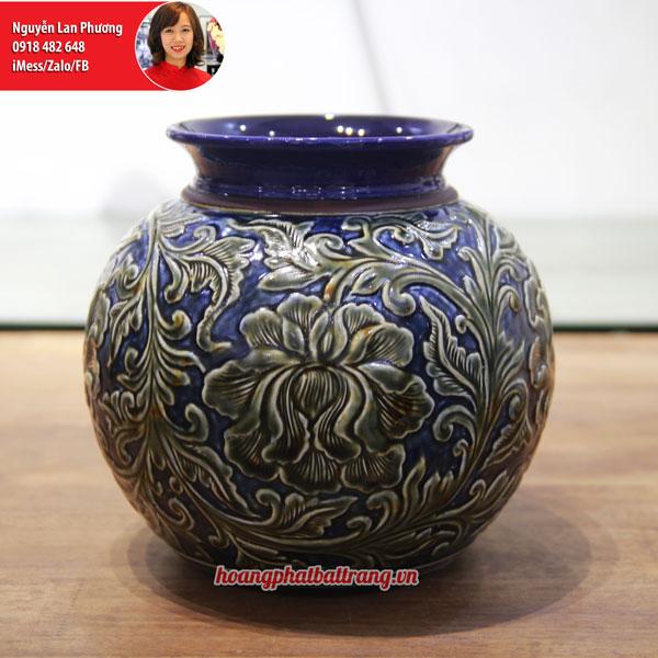 Bình hoa men Hoàng Thổ khắc phù dung nổi 22cm