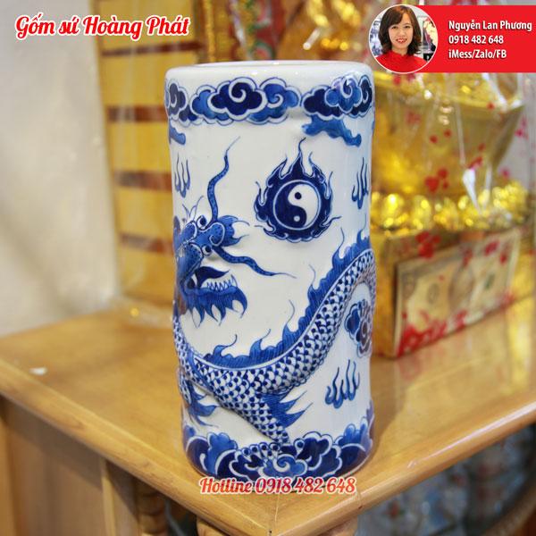 Ống hương gốm sứ rồng nổi men lam 3D