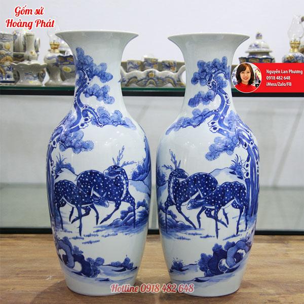 Tiểu lộc bình men lam, cảnh Tùng Lộc cao 50cm