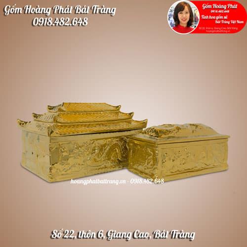 Tiểu quách phủ vàng ba mái, rồng nổi 3D cỡ Đại SP4934