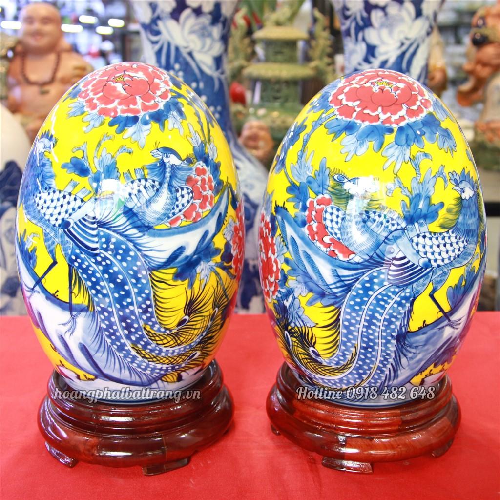 Trứng phong thủy vẽ Chim trĩ, Phù Dung